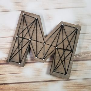 M Initial Wood Wooden String Home Decor Accent